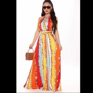 FashionNova Inspired By You Satin Chain Maxi Dress